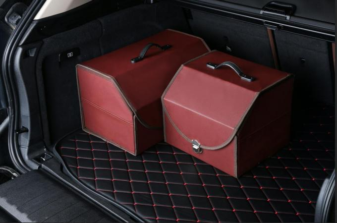 PU Red Foldable Car Trunk Organizer Bag For Ourdoor Travel Storage